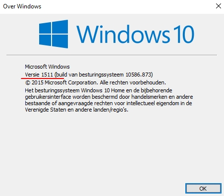 Windows 10 - Versie 1511